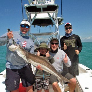 Joey and family with a nice Everglades Cobia caught with a rubber eel on a Captain Rapps Charter - Copy (2)