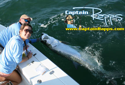 Maggie gets her first Tarpon on a Captain Rapps Bahia Honda Tarpon Charter in the florida Keys